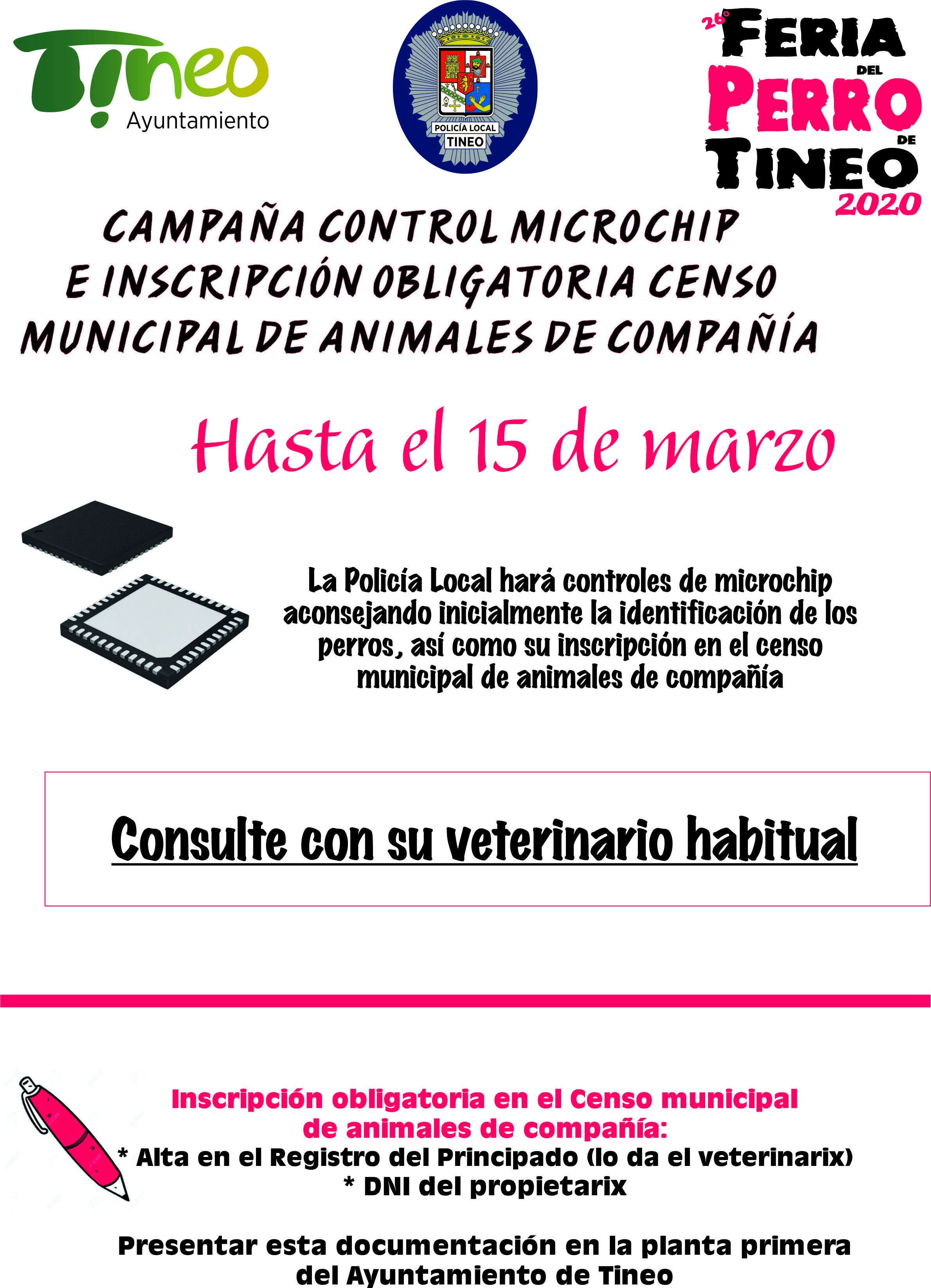 Campaña control de microchip  e inscripción obligatoria en el censo municipal de animales de compañía